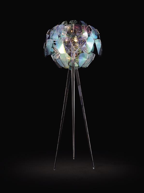 Artpole Светильник напольный Mondstein F, E14, 3х100 Вт, Н200(макс)хD80, разноцв пластик, хром. сталь (2 кор