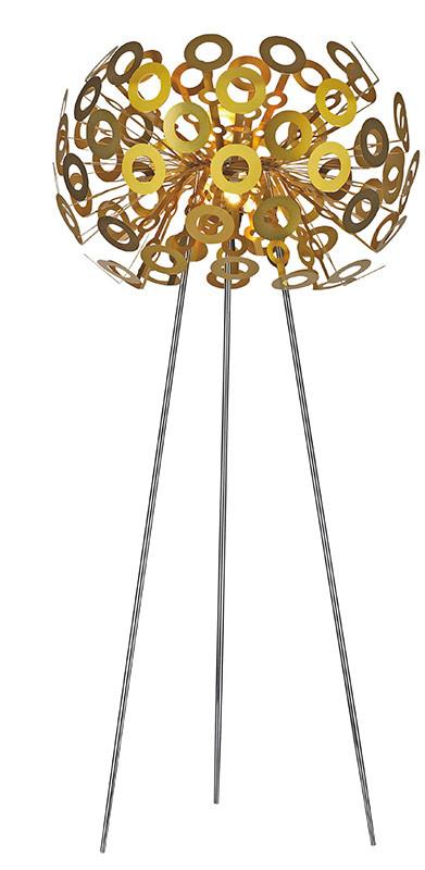 Artpole Светильник напольный Pusteblume F GD, E27, 1х100 Вт, Н130хD50, золото, хром. мет.