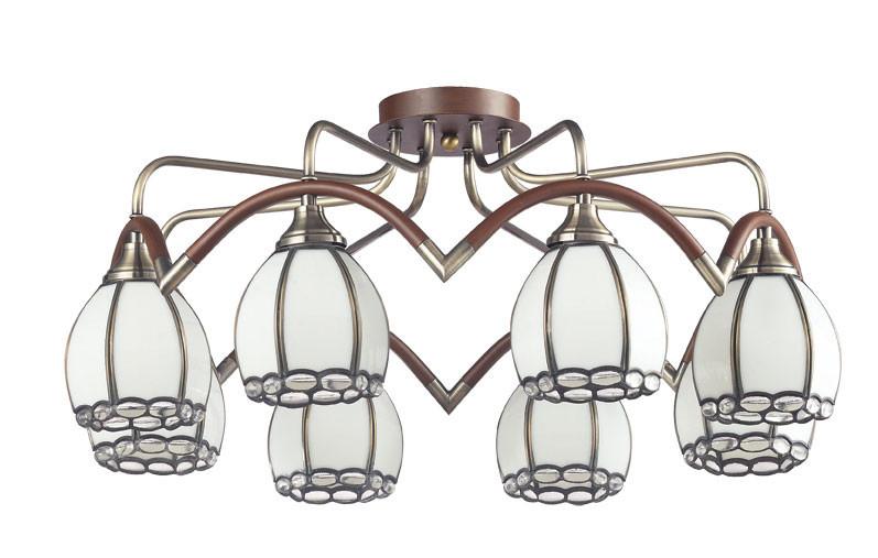 где купить N-Light 607-08-53 antique brass + walnut  + tiffany по лучшей цене