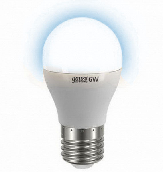 Gauss Лампа 6W E27 4100K Gauss Elementary светодиодная шар лампа светодиодная e27 6w 3300k шар прозрачный 4690389100987