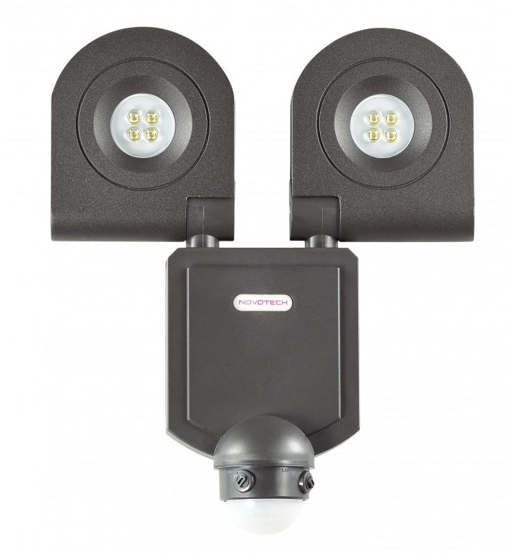 Novotech 357221 NT15 054 чёрный Настенный светильник с ИК датчиком движения IP44 8LED 2*10W 220V TITAN