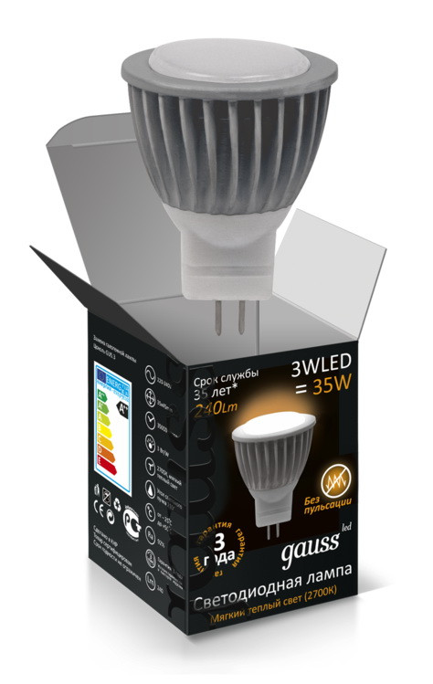 Gauss Лампа MR11 3W GU4 4100K AC220-240V FROST Gauss LED фонарь garin lux mr 3w