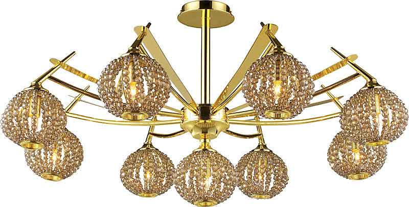 N-Light 917-09-33 gold + brown crystal люстра накладная 06 2484 0333 24 gold amber and white crystal n light
