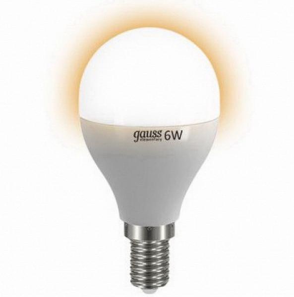 Gauss Лампа 6W E14 2700K Gauss Elementary светодиодная шар лампа светодиодная classic f e14 6w 4200k шар матовый 4690389108310