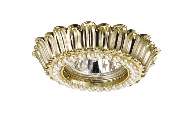 Novotech 370139 NT15 185 золото Встраиваемый светильник IP20 GU5.3 50W 12V PEARL встраиваемый светильник novotech pearl round 369441