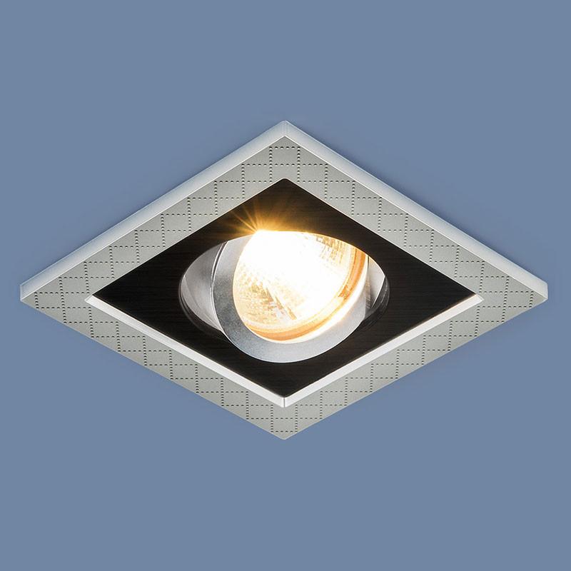 Elektrostandard 1041/1 MR16 SL/BK серебро/черный elektrostandard точечный светильник с поворотным механизмом elektrostandard 1041 1 mr16 sl bk серебро черный 4690389095429