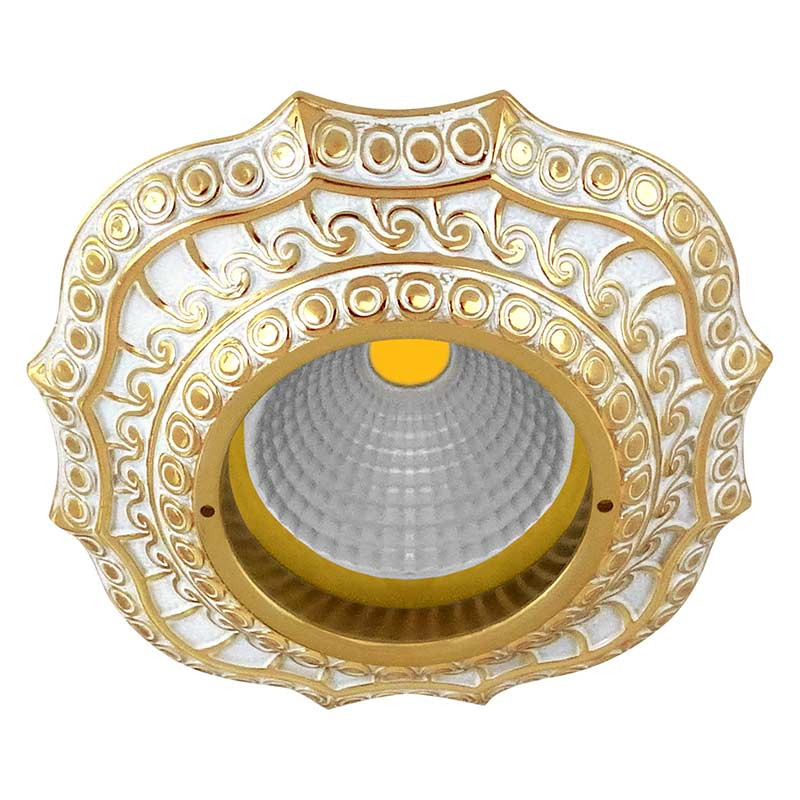 Fede Скругленный точечный светильник из латуни, золото с белой патиной светильник точечный накладной коллекция vitoria surfase fd1012sob латунь блестящее золото fede феде