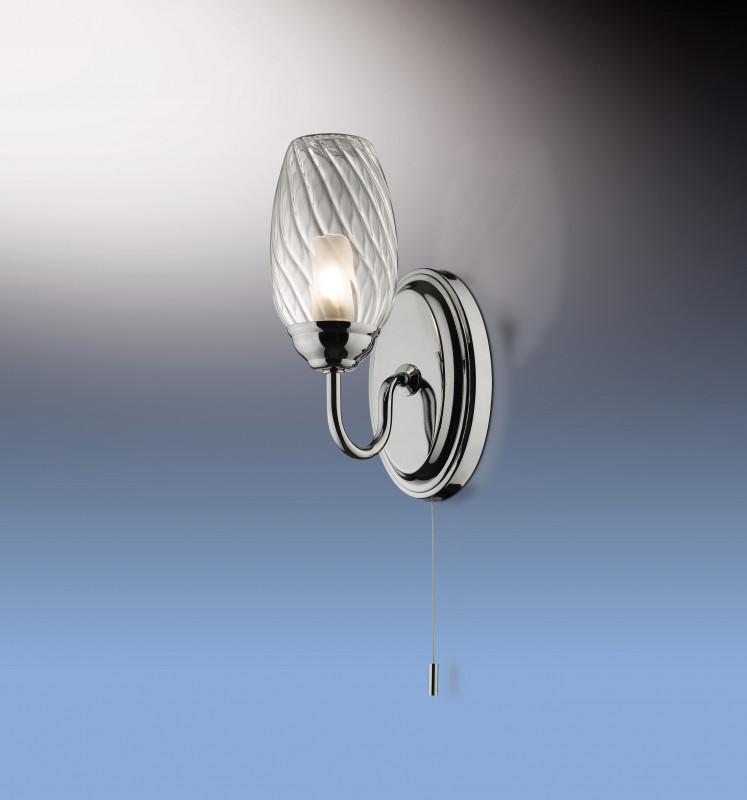 Odeon Light 2147/1W ODL11 862 хром Бра с выкл IP44 G9 40W 220V BATTO odeon light 2217 3w odl12 815 хром хрусталь подсветка с выкл g9 3 40w 220v loden