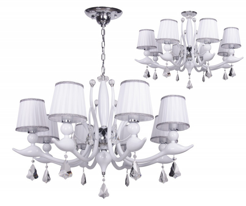 Crystal Lux FLAMINGO SP-PL8 WHITE потолочная люстра crystal lux flamingo sp pl8 bi