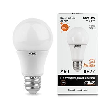 Gauss Лампа Gauss Elementary LED A60 E27 10W 2700K 1/40 gauss лампа gauss elementary led a60 15w e27 4100k 1 10 40