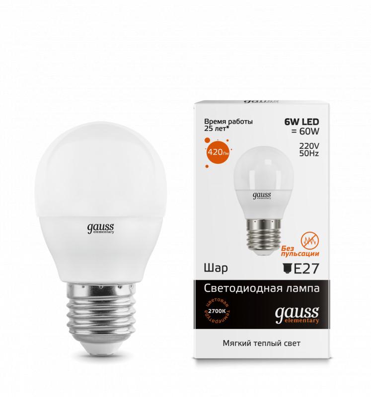 Gauss Лампа Gauss LED Elementary Globe 6W E27 2700K 1/10/50 лампа gauss led elementary globe 6w e 27 2700 k 53216