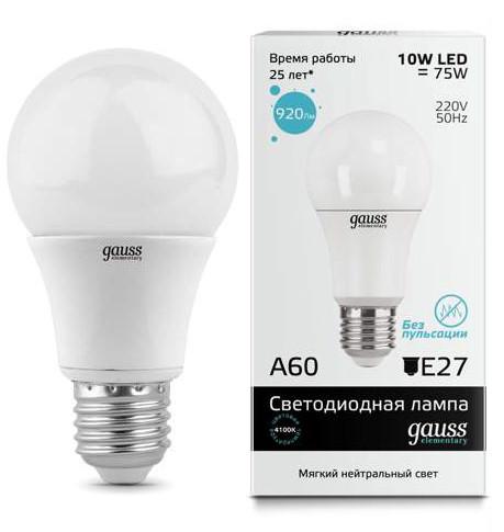 Gauss Лампа Gauss Elementary LED A60 E27 10W 4100K 1/40 gauss лампа gauss elementary led a60 15w e27 4100k 1 10 40