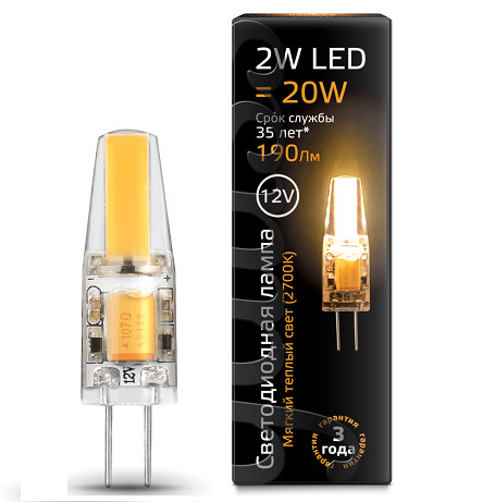 Gauss Лампа Gauss LED G4 12V 2W 2700K 1/20/200 led светильник philips led g4 12v 1 2w g4
