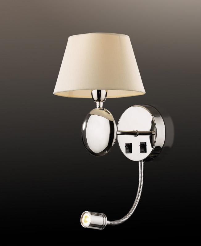 Odeon Light 2195/1A ODL12 581 хром/абажур/бежевый Бра c выкл E14, LED 40W+1W LED 220V HOTEL