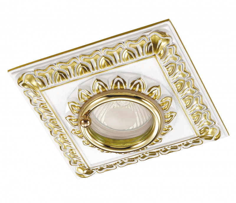 Фото Novotech 370047 NT15 287 белый/золото Встраиваемый светильник IP44 GU5.3 50W 12V DAISY. Купить с доставкой