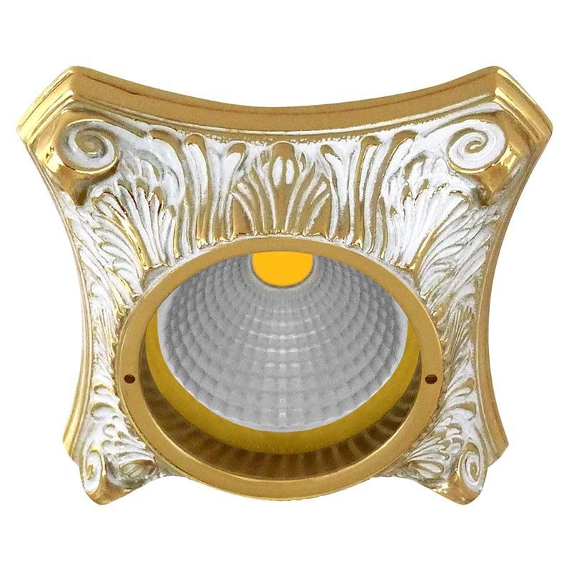 Fede FD1010ROP Круглый точечный светильник из латуни, золото с белой патиной светильник точечный круглый коллекция pisa lights fd1010rcb светлый хром латунь fede феде