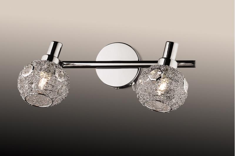 Odeon Light 2209/2W ODL12 769 хром/хрустальный декор Подсветка с выкл G9 2*40W 220V BISCO светильник настенный odeon light 2209 3w odl12 719 g9 3 40w 220v bisco хром хрустальный декор
