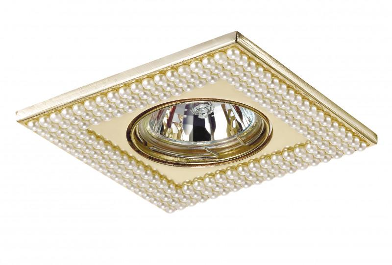 Novotech 370145 NT15 402 золото Встраиваемый светильник IP20 GU5.3 50W 12V PEARL встраиваемый светильник novotech pearl round 369441