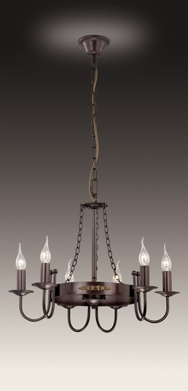 Odeon Light 2528/6 ODL13 341 коричневый/декор золотой Люстра  E14 6*40W 220V DARIO купить
