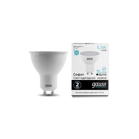 Gauss Лампа Gauss LED Elementary MR16 GU10 5.5W 4100К 1/10/100
