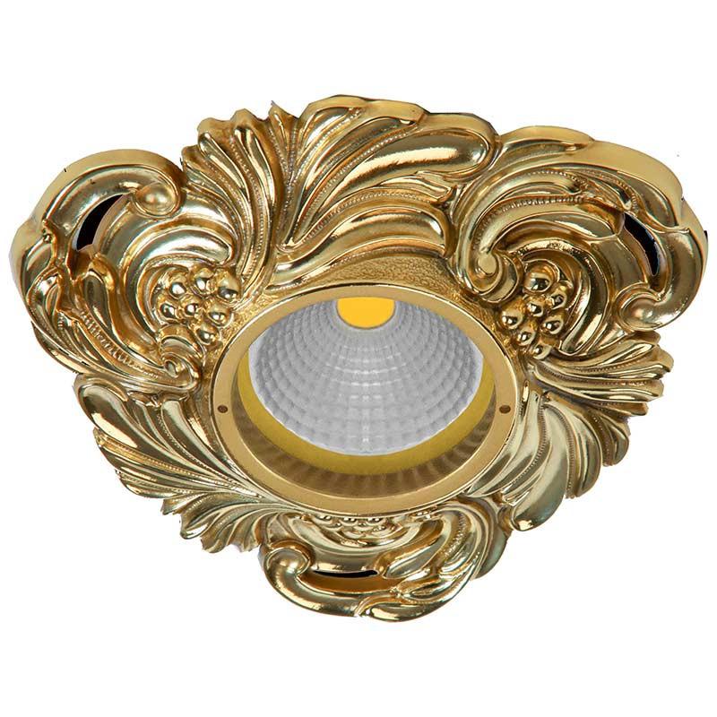 Fede FD1009ROB Треугольный точечный светильник из латуни, блестящее золото светильник точечный треугольный коллекция chianti lights fd1009rpb светлый латунь патина матовое стекло fede феде