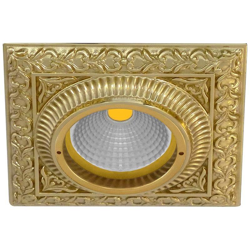 Fede FD1005COB Квадратный точечный светильникиз латуни, блестящее золото светильник точечный накладной коллекция vitoria surfase fd1012sob латунь блестящее золото fede феде
