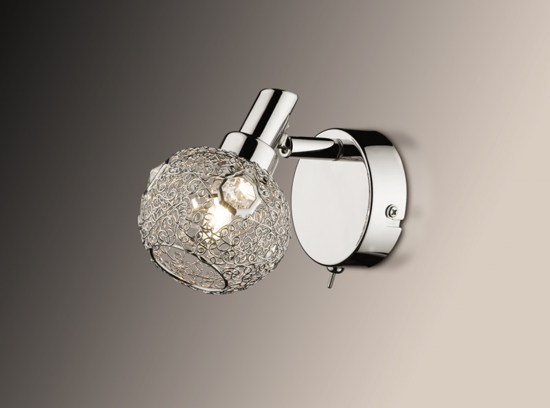 Odeon Light 2209/1W ODL12 769 хром/хрустальный декор Подсветка с выкл G9 40W 220V BISCO светильник настенный odeon light 2209 3w odl12 719 g9 3 40w 220v bisco хром хрустальный декор
