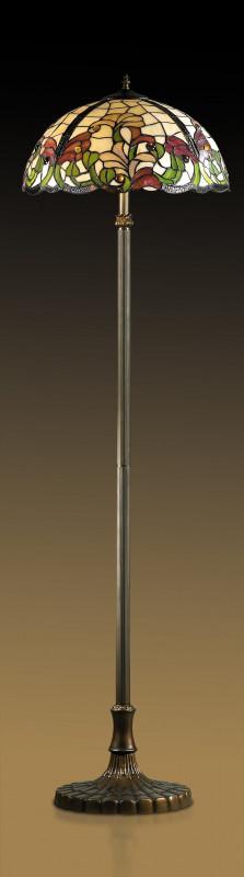 "Odeon Light 2268/2F ODL12 699 коричневый/""тиффани"" Торшер E27 2*60W 220V FLORA бра 2268 1w flora odeon 700125"
