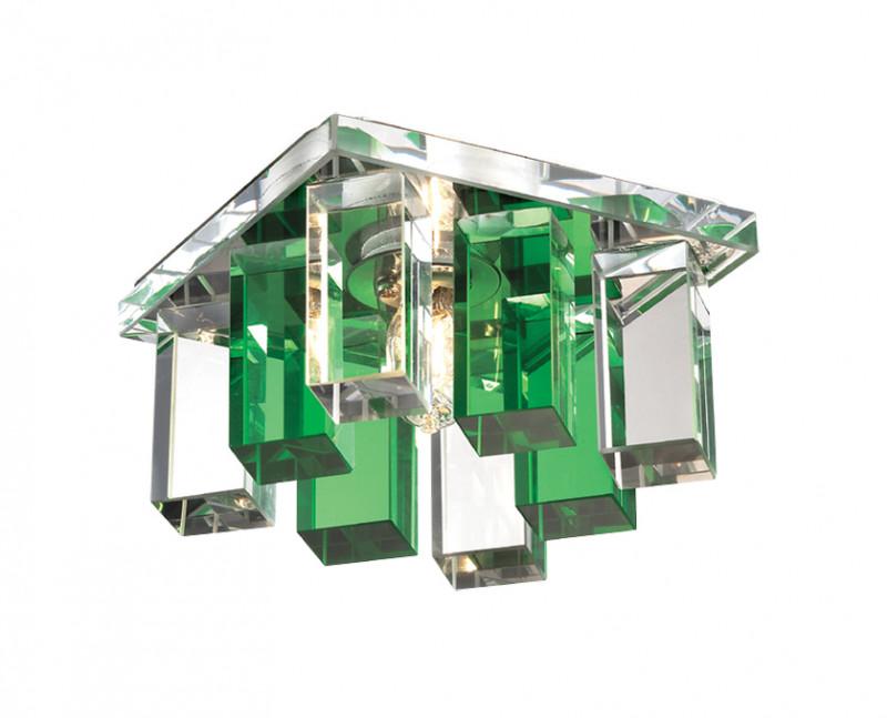 Novotech 369372 NT09 216 хром/прозрачно-зелёный Встраиваемый светильник IP20 G9 40W 220V CARAMEL 2 встраиваемый светильник novotech caramel 369372