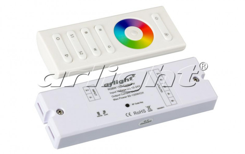 Фото Arlight Контроллер SR-2839W White (12-24 В,240-480 Вт,RGBW,ПДУ сенсор)). Купить с доставкой
