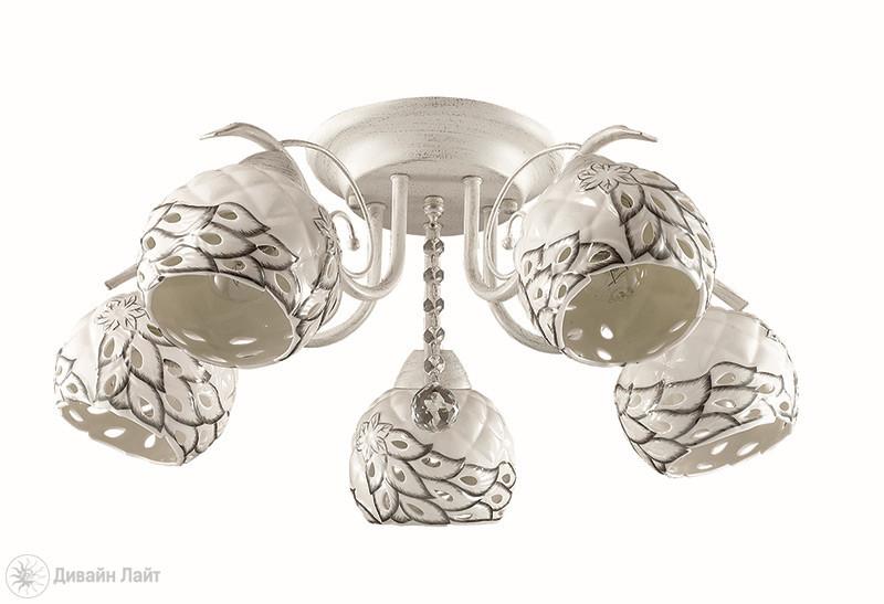 LUMION 3117/5C LN16 000 белый/зол патина/керамика/хрусталь Люстра потолочная E27 5*40W 220V KERAMA