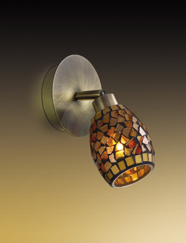 Odeon Light 2167/1W ODL11 773 мозаика/янтарный Подсветка с выкл  G9 40W 220V GLOSSE