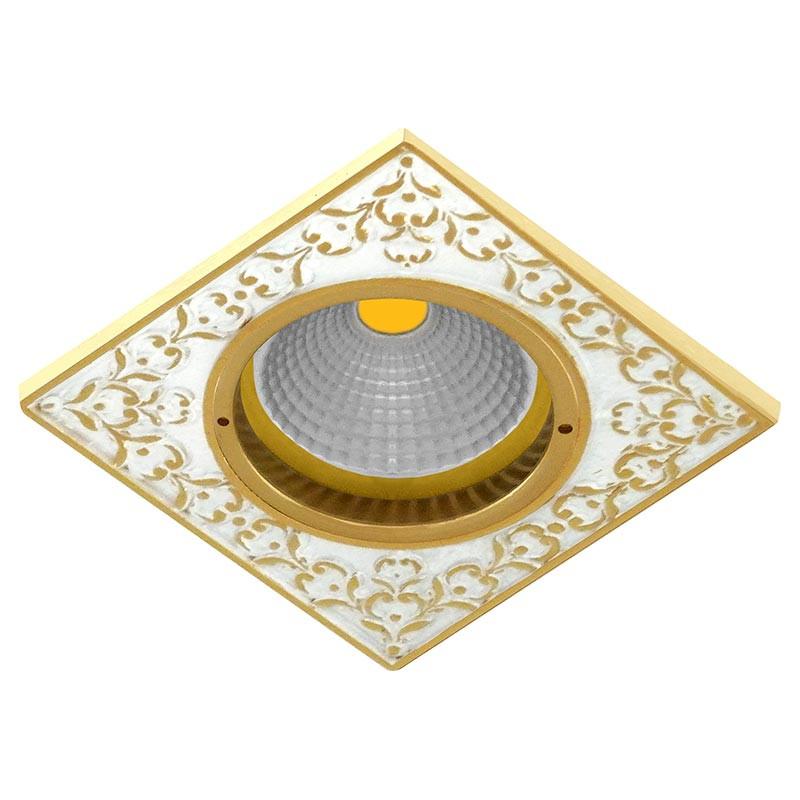 Fede FD1026COP Квадратный точечный светильник из латуни, gold white patina