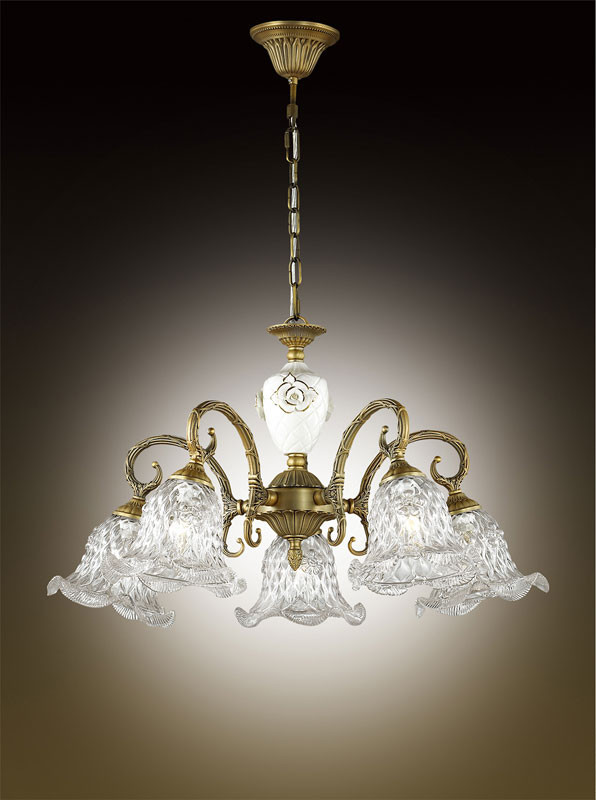 Odeon Light 2884/5 ODL16 009 бронзовый/стекло/декор керамика роза Люстра E14 5*60W 220V VICTORI бра odeon light victori арт 2884 1w