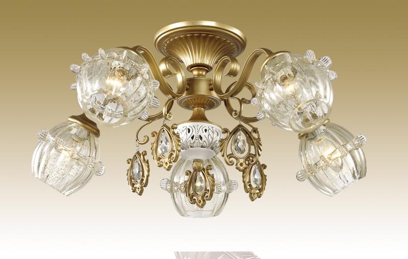 Odeon Light 2887/5C ODL16 007 бронзов./стекло/хрусталь Люстра потолочная E14 5*60W 220V FOLLA