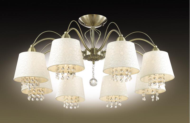 Odeon Light 2916/8C ODL16 063 бронзовый/абажур ткань/подвески хрусталь Люстра потолочная E14 8*40W 220V FONTE люстра на штанге odeon light 2916 8c