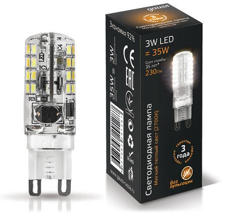 Фото Gauss Лампа Gauss LED G9 AC185-265V 3W 2700K 1/20/200. Купить с доставкой