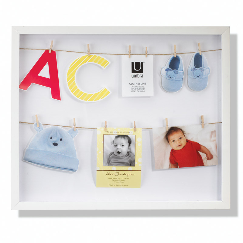 Umbra Панно с зажимами для 12 фотографий clothesline белое