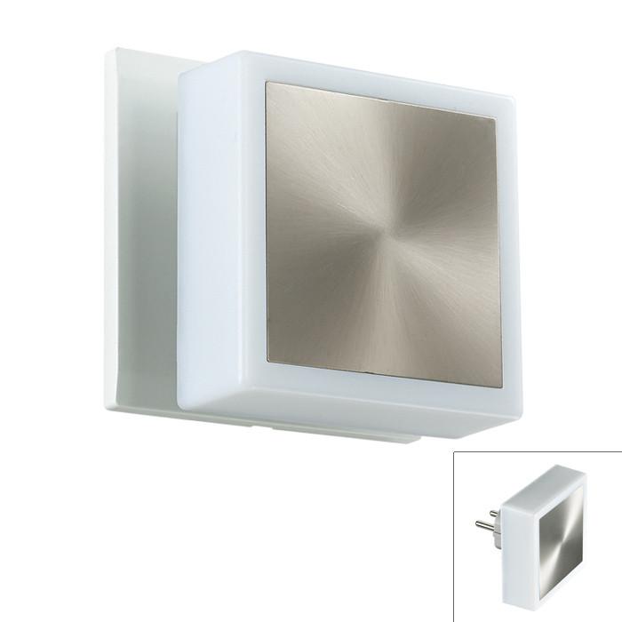 Фото Novotech 357321 NT16 101 белый/сталь Светильник-ночник (в розетку) с выкл IP20 24 LEDx0.06W  220V NIGHT LIGHT. Купить с доставкой
