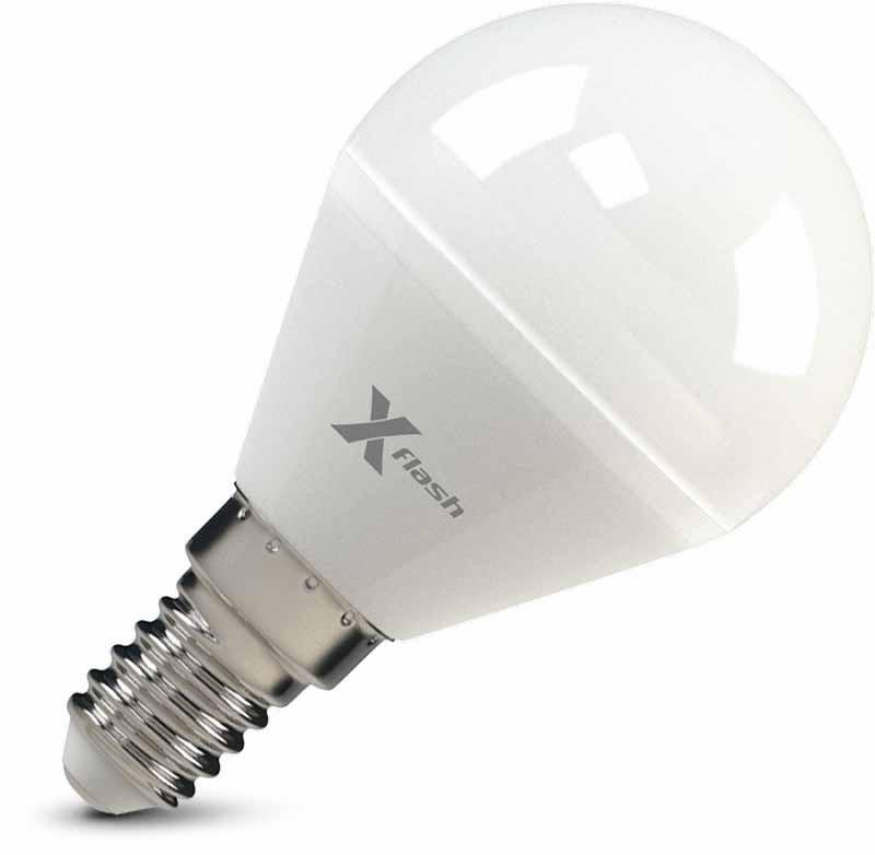X-Flash Светодиодная лампа XF-E14-G45-P-5W-3000K-12V X-flash лампочка x flash spotlight mr16 xf spl l gu5 3 6w 3000k 12v желтый свет линза 43507