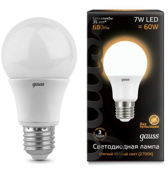 Gauss Лампа LED A60 E27 7W 2700K 1/40 Gauss