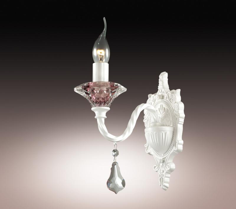 Odeon Light 2888/1W ODL16 037 белый/фиолетовое стекло/хрустальные подвески Бра E14 60W 220V GRASA