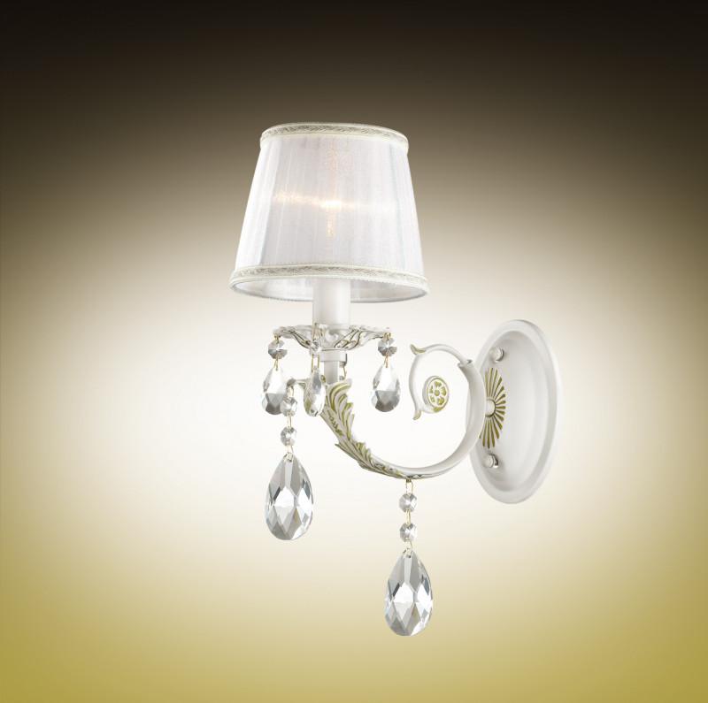 Odeon Light 2913/1W ODL16 039 белый с позол/абажур ткань белый/хрусталь Бра E14 40W 220V TIVOLA odeon light tivola 2913 1w