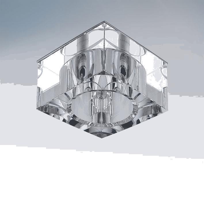 Lightstar 004050 Светильник QUBE LT CR G4  ХРОМ БЕЗ ПОЛОСОК/ПРОЗРАЧНЫЙ, шт встраиваемый светильник lightstar qube 004050