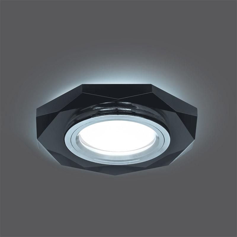 Gauss Светильник Gauss Backlight BL056 Восемь гран. Графит/Хром, Gu5.3, LED 4100K 1/40 gauss светильник gauss backlight bl070 круг гран черный серебро хром gu5 3 led 4100k 1 40