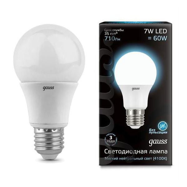 Gauss Лампа Gauss LED A60 E27 7W 4100K 1/40 gauss лампа gauss elementary led a60 15w e27 4100k 1 10 40