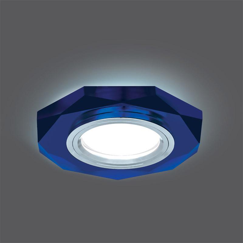 Gauss Светильник Gauss Backlight BL055 Восемь гран. Синий/Хром, Gu5.3, LED 4100K 1/40 gauss светильник gauss backlight bl070 круг гран черный серебро хром gu5 3 led 4100k 1 40