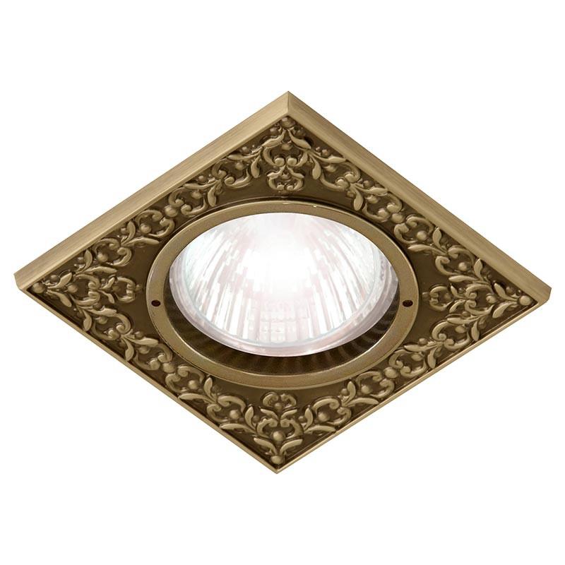 Fede FD1026CPB Квадратный точечный светильник из латуни, bright patina fede fd1026ccb квадратный точечный светильник из латуни bright chrome
