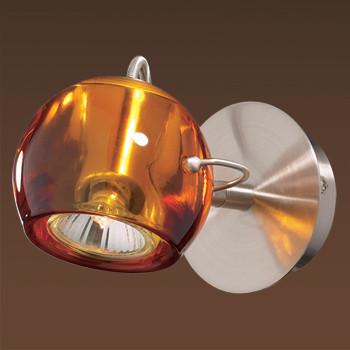 Odeon Light 1430/1W ODL09 430 матовый никель/амбра Бра  GU10 50W 220V BOLLA odeon light спот odeon light bolla 1430 1a