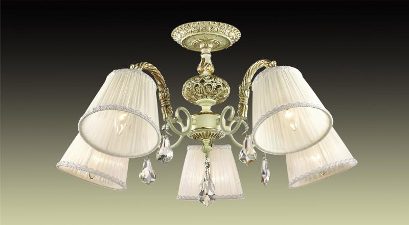 Odeon Light 2882/5C ODL16 011 кремовый/зол.патина/ткань/хрусталь Люстра потолочная E14 5*40W 220V NAVIS